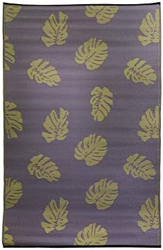FH Home Indoor Outdoor Rug Crafted from Premium Recycled Plastic Straws Durable and Reversible, Weather Resistant Mat FH13 – Purple Tan – 4 ft x 6 ft