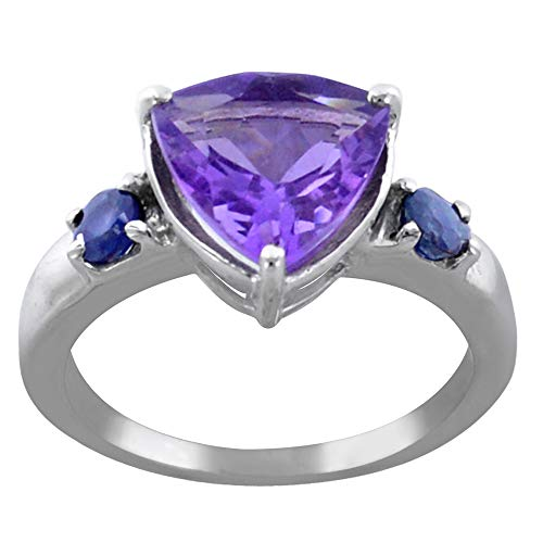 (ORCHID JEWELRY MFG INC 2.33 Ct Purple Amethyst 925 Sterling Silver Trillion Shaped Ring for Women: Cute and Simple Mother and Wife Birthday Gift: Ring Size-8)