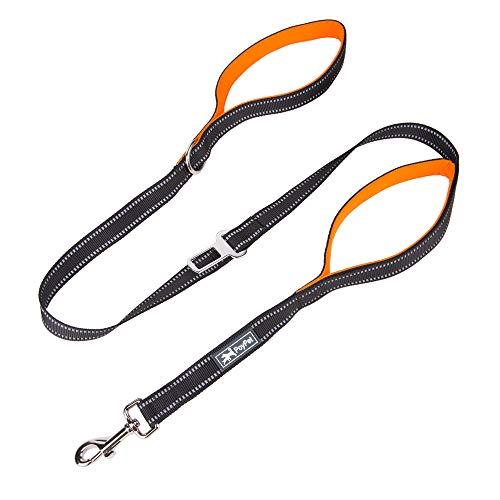 PoyPet 5 Feet Heavy Duty Dog Leash - Car Seat Belt - 2 Handles -Padded Traffic Grip for Extra Control(Orange)
