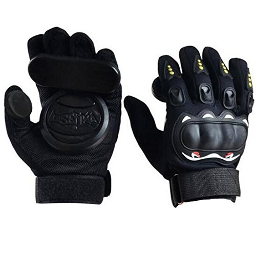Seroda Slide Glove Longboard Gloves,Adult Skateboard Protective Gloves with Three Slide Pucks (Black)