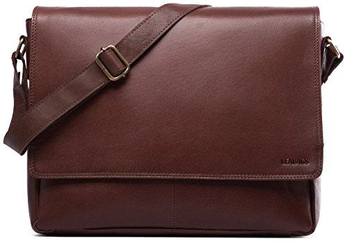bag messenger vintage Burgundy in Oxford style genuine buffalo leather LEABAGS Black qfaxOSIwXx
