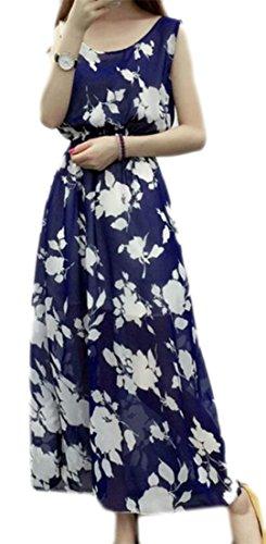 Navy Dress Womens Multi Color Tank Beachwear Big Print Floral Tang Sleeveless Blue Dress FPxnqf1H
