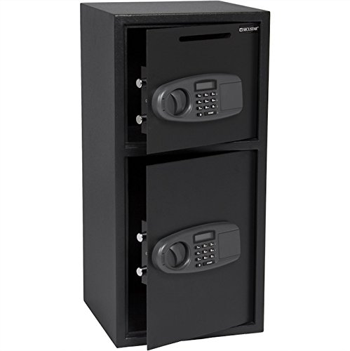Large Digital Double Door Safe Security Cash Money Jewelry Gun Book Deposit Drop Slot Lock Box With Electronic Lock And Keys Home And Office Use Heavy Duty Steel Durable Large Storage Space