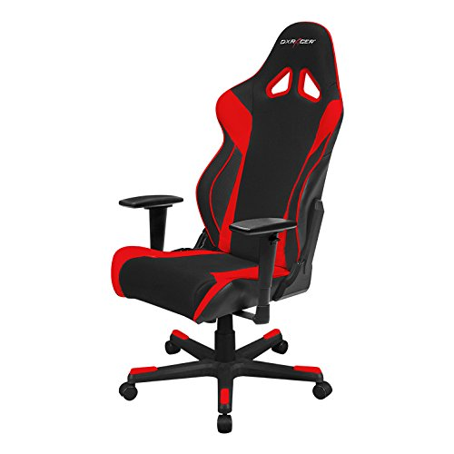 DXRacer Racing Series OH/RW106 Racing Style Bucket Seat Ergonomic Executive Office Gaming Chair Computer eSports Desk Chair With Lumbar Support Pillows (Black, Red) (Five Red Stars Point)