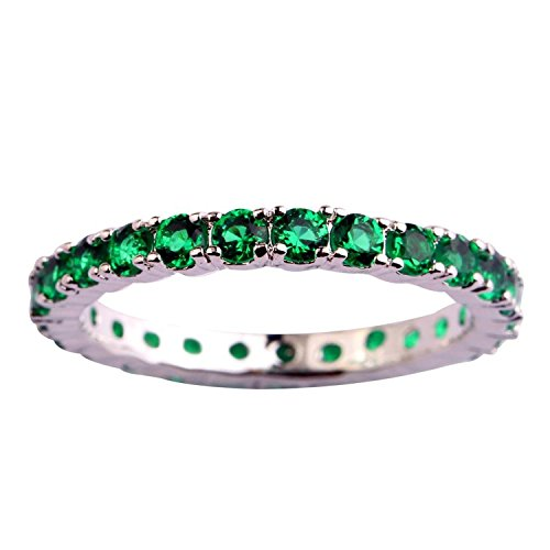 Veunora 925 Sterling Silver Created Emerald Quartz Filled Stacking Eternity Love Promise Ring Band Size 8 ()