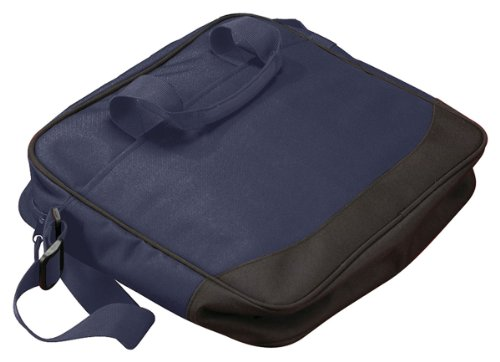 Big Accessories and BAGedge Vector Zipper Portfolio Bag, NAVY/BLACK, One Size - 600 Denier Polyester Portfolio