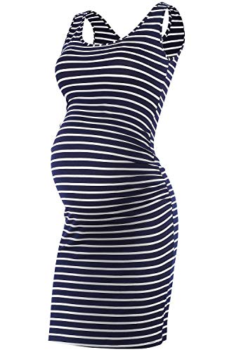 Qunisy Women's Sleeveless Maternity Tank Dress Ruched Side Bodycon Pregnancy Casual Dresses Knee Length (Best Shoes For Pregnancy)