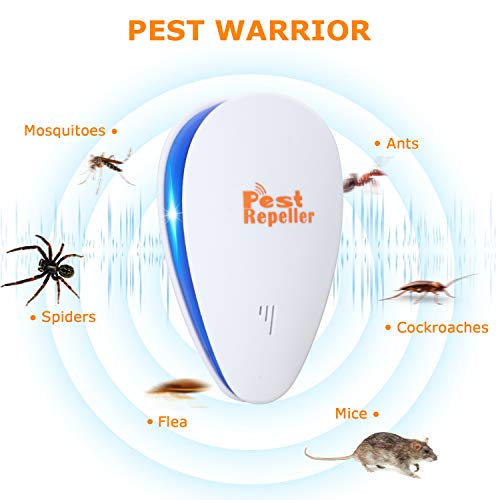 Ultrasonic Pest Repeller Plug in,Electronic Pest Device,Mosquito Repellent Indoor Plug in,Pest Defender for Spider Mice Mosquito Rats Rodents and other Insect(6 Packs)
