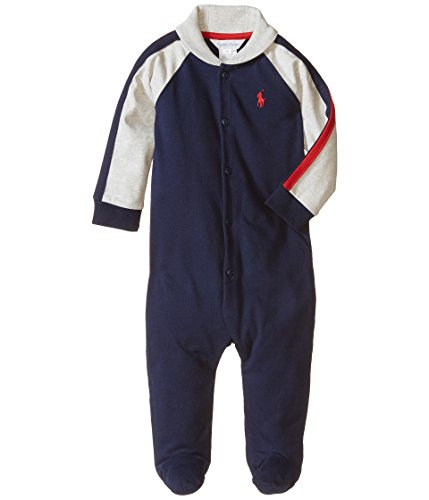 Stripe Polo Coverall - Ralph Lauren Polo Baby Boys Colorblock Romper Coverall 6 M Months