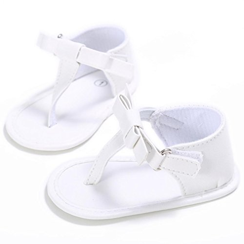 Huhu833 Babyschuhe, Kleinkind Mädchen Krippe Schuhe Neugeborenen Blume Weiche Sohle Anti-Rutsch Baby Turnschuhe Sandalen Weiß