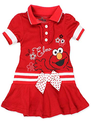 Sesame Street Elmo Baby Toddler Girls Knit Polo Dress with Collar (4T, Toddler Elmo)