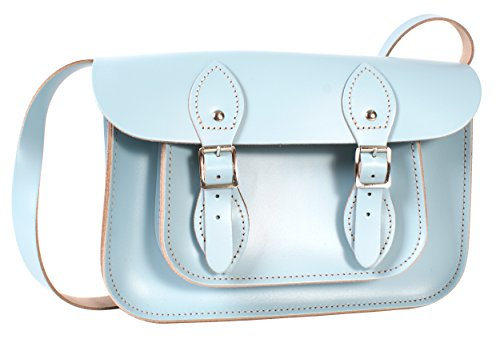 Oxbridge Satchel Shop - Bolso estilo cartera para mujer azul small