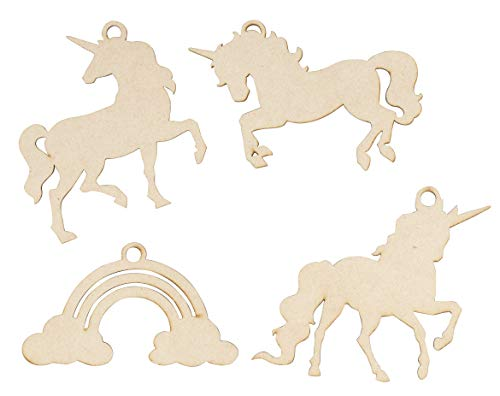 Unfinished Wooden Christmas Ornaments - 24-Pack Paintable Blank Xmas Tree Hanging Wood Slices for Kids DIY Art Craft, Festive Decoration, 4 Assorted Unicorn Designs, 4.5 x 2.6 to 5 x 4 Inches