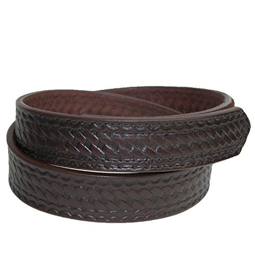 Boston Leather Men's Leather Basketweave Hook and Loop Mechanics Belt, 40, Brown - Basketweave Embossed Belt
