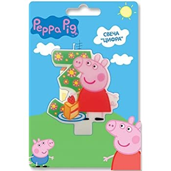 Peppa_pig Birthday Party Supplies Cake Topper Molded Colored Number 3 Candle Holiday Baking Dessert Cupcake Decorating Idea for Celebration Boys or ...