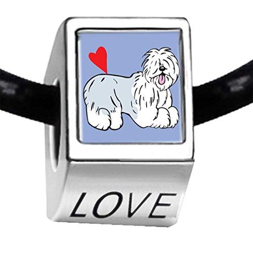 (GiftJewelryShop Silver Plated Old English Sheepdog Animal Photo Love Charm Bead Bracelets European Bracelets)