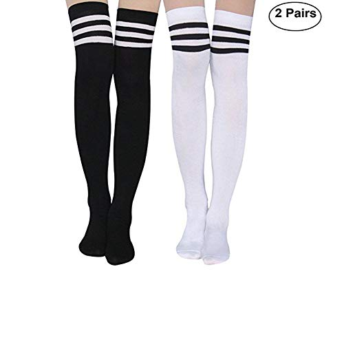 (Aispark Womens Knee High Socks Girls Long Striped Over the Knee Thigh High Stockings Cosplay Socks)