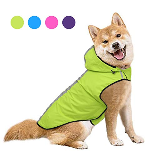 SENYEPETS Waterproof Dog Raincoat, Lightweight Packable Jacket with Reflective Stripes for High Visibility Safety, Adjustable Hood Poncho for Small Medium Large Dogs (M, Green)