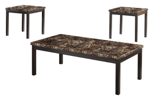Homelegance Set Coffee Table - Homelegance 2601-31 Occasional Set, Faux Marble Top, 3 Pieces Per Pack