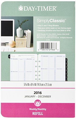 Day-Timer® Dated Two-Page-per-Week Organizer Refill, 5 1/2 x 8 1/2, January-December 2017