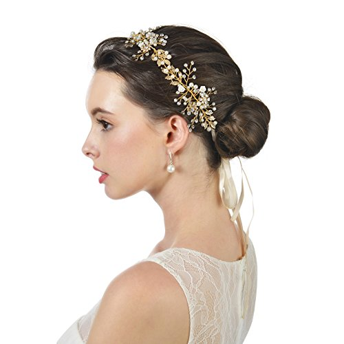 AW BRIDAL Hair Vine Gold Wedding Headband with Ribbon Bohemian Headpiece for Bride and Bridesmaid
