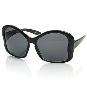 zeroUV - Womens Fashion Large Butterfly Shaped Oversized Sunglasses w/ Key Hole Bridge (Black Smoke)
