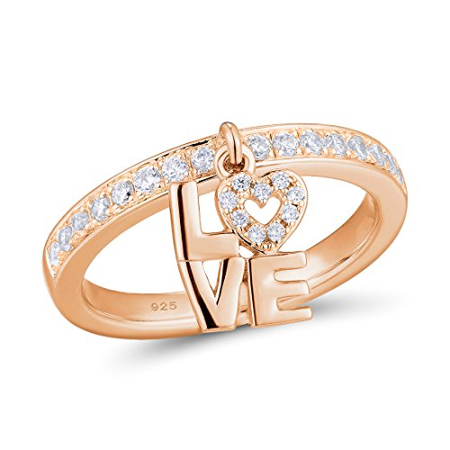 Santuzza Silver Ring for Women 925 Sterling Silver Heart Female Rings Rose Gold Color Cubic Zirconia Stone Ring Set Fine Jewelry (Rose-Gold-Plated-Silver, 6)