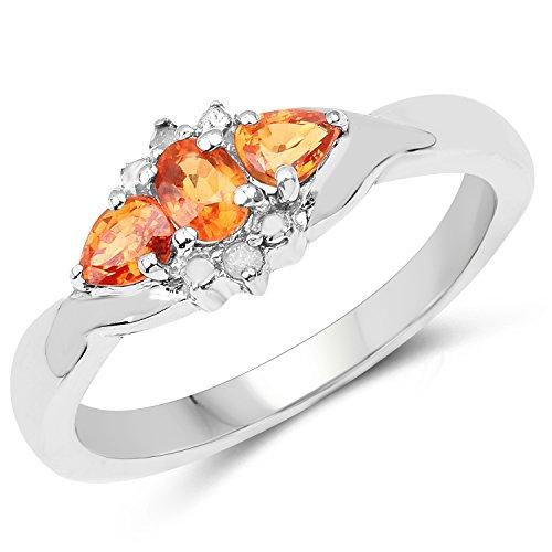 Johareez 0.65 Carat Genuine Orange Sapphire & White Topaz .925 Sterling Silver Ring