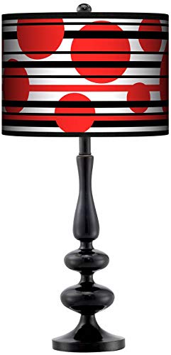 Modern Table Lamp Glossy Black Paley Red Balls Giclee Pattern Drum Shade for Living Room Family Bedroom Office - Giclee Gallery