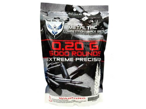 MetalTac Airsoft BBs .20g Perfect Grade High Precision 6mm BB Pellets (Bag of 5000 Rounds) by MetalTac