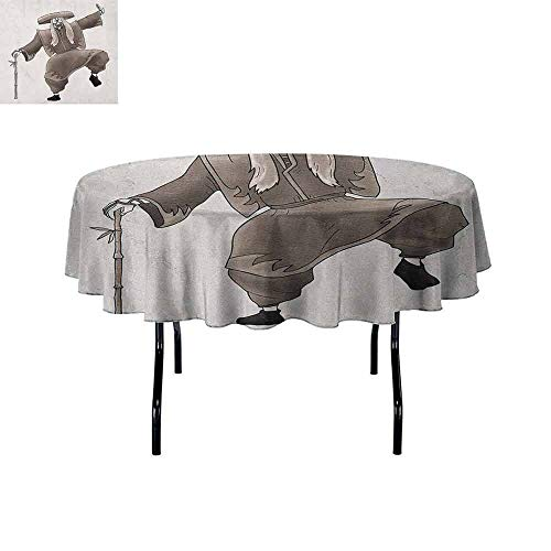 DouglasHill Kabuki Mask Easy Care Leakproof and Durable Tablecloth Oriental Style Artist with Make Up and Costume Pose Dance Ancient Artwork Outdoor Picnic D47 Inch Umber White -