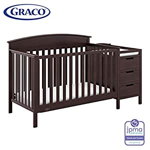 Graco Benton 4-in-1 Convertible Crib and Changer (Black) – Attached Changing Table with Water-Resistant Changing Pad, Space-Saving Storage with 3 Drawers and 3 Open Shelves 11