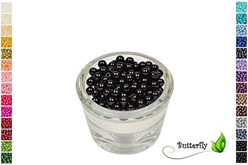 100 Perlen 6mm schwarz 030 // Kuststoff Bastelperlen Drahtsterne Wachsperlen Perlenkette
