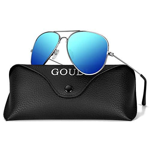 Aviator Sunglasses for Men Women - GOUDI Polarized Metal Frame Lightweight UV 400 Protection Driving Mens Women Sunglasses GD9002(blue/silver)