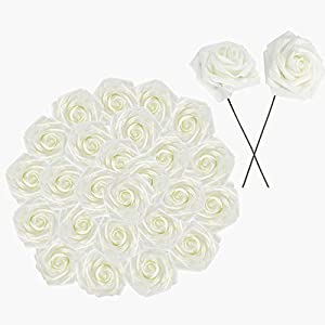 """GTIDEA 30PCS 3"""" Artificial Foam Rose Flower Heads with Stems Realitic Real Touch Fake Rose Floral Arrangements DIY for Bride Wedding Bouquet, Baby Showers Party Table Centerpieces Decor (Milk White) 26"""
