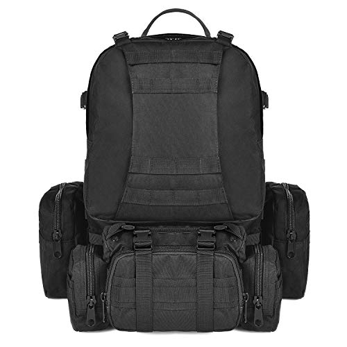 CVLIFE 60L Built-up Military Tactical Army Outdoor Backpacks Assault Combat Rucksack Heavy Bag Black