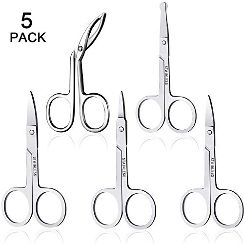 5 Pcs Multipurpose Facial Hair Scissor Stainless Steel Grooming Scissors Curved Straight and Rounded Tip Scissors for Eyebrow Beard Nose Hair and Mustache