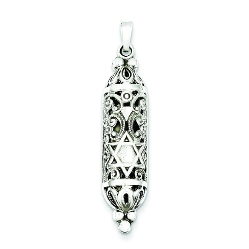 Mezuzah Pendant Polished (Sterling Silver Mezuzah Pendant)