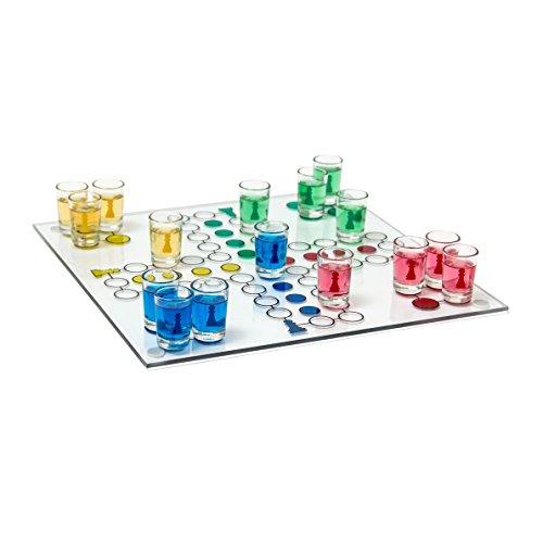 Relaxdays Drinking Jeu de Ludo, Jeu de société pour adultes, 1 plateau de jeu, 2 dés & 16verres à liqueur, Jeu à boire divertissant, multicolore
