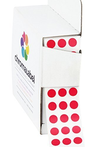 ChromaLabel 1/4 inch Color-Code Dot Labels | 1,000/Dispenser Box (Red)