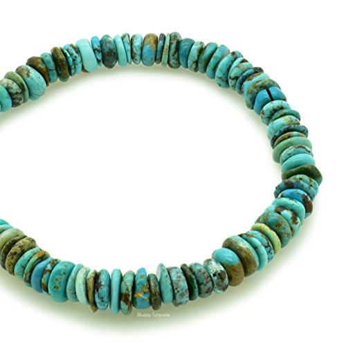 Bluejoy Genuine Natural American Turquoise 8mm Free-Form Disc Bead 16 inch Strand for Jewelry Making