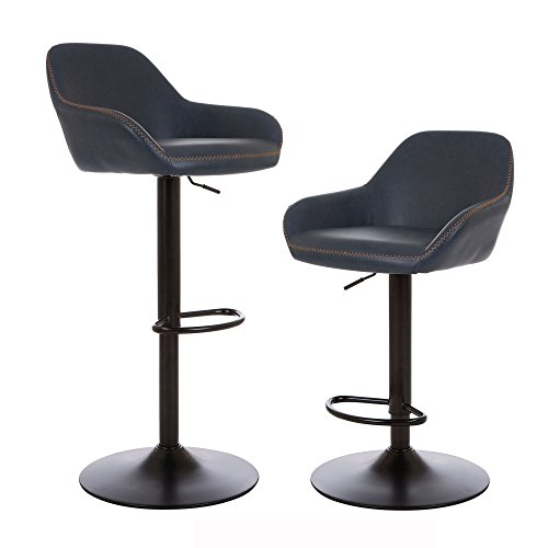 (Glitzhome Mid Century Bar Stools Adjustable Swivel Leatherette Seat Bar Chair with Arm Back Support Kitchen Furniture Set of 2, Dark Blue)