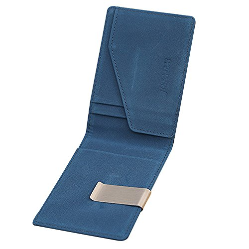 Billeteras de Hombres Luxury men Wallets Money Clip Carteira Vintage Style Leather Money Holder Male Clamp For Money Clip (Black) (Blue)