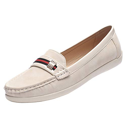 GUCHENG Casual Loafers Slip On Shoes Women's Flats Comfort Driving Lady Leather Walk Boat Shoes (9.25