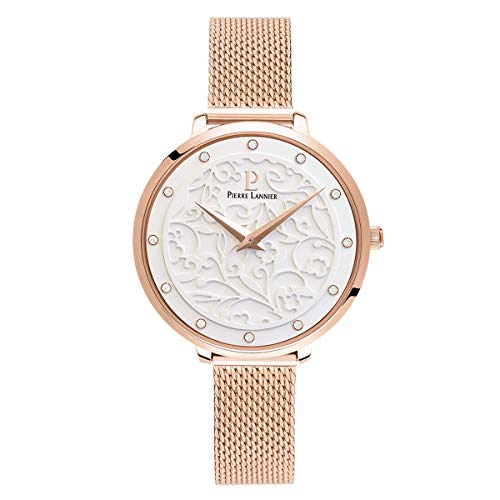 Women's Watch Pierre Lannier - 039L908 - EOLIA - Rose-Gold Plated and White - Milanese Strap
