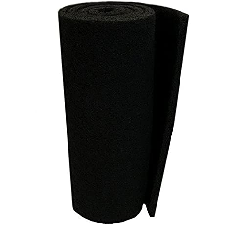 Classic Koi Pond Filter Pad COARSE 18 Inches By 72 Inches By 1 Inch BLACK Bulk Roll Pond Filter Media Rigid Ultra Durable Latex Coated Fish Pond Filter Material By Aquatic Experts USA