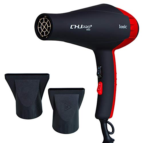 Professional Hair Dryer, Negative Ionic Blow Dryer Electric Ceramic Heat Hairdryer Powerful Home Salon Performance Hair Styling Tools 110V, AC 2300W, Black Red