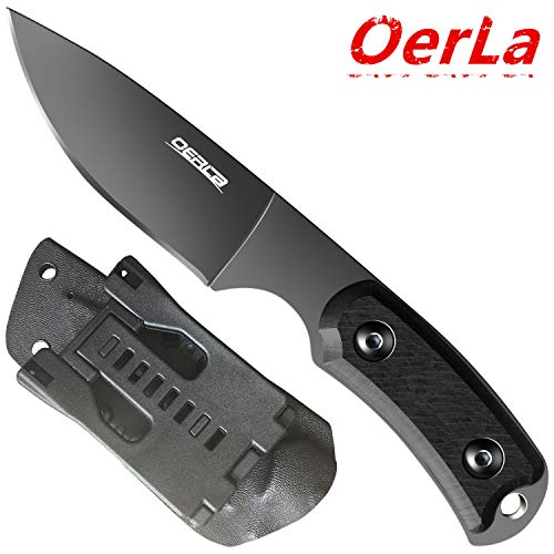 (Oerla TAC OLF-1011 Fixed Blade Outdoor Survival Tactical Knife 420HC Steel Field Knife Camping Knife with Wood Handle Waist Clip EDC Kydex)