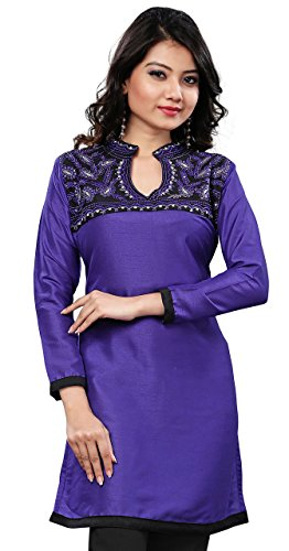 Long Indian Tunic Top Tunic Womens Silk Blouse India Clothes (Blue, L)