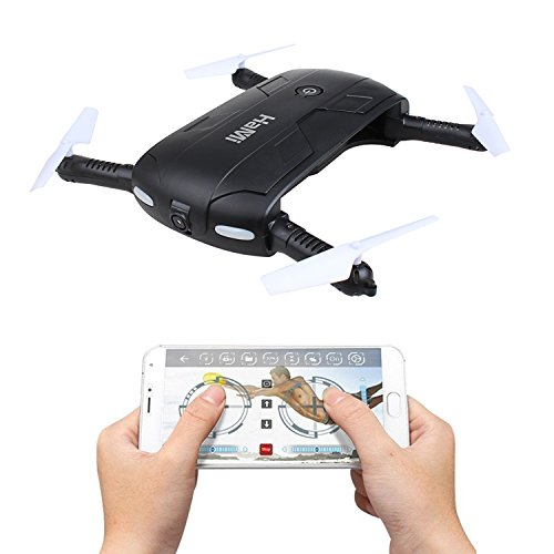 HaMi Foldable Mini Drone,Wifi FPV Quadcopter Drones with 720P Camera 6-Axis Gyro Selfie Drone,Smartphone Controlled RC Helicopter - Black